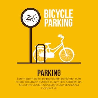 黄色の背景ベクトル図上の駐車場のデザイン