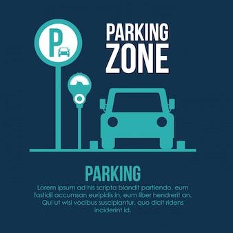 Parking design over white illustration