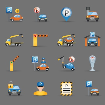 Parking facilities flat icons graphite background