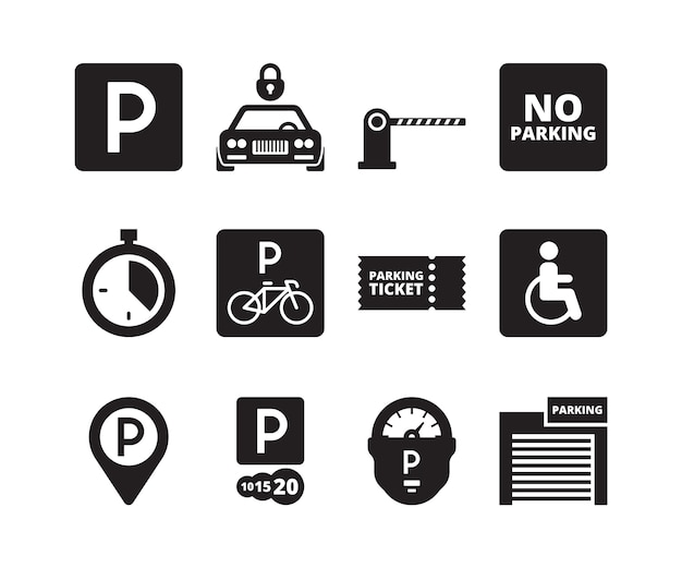 Parking icon. transportation silhouette symbols cars bikes cash garage vehicles park collection set. illustration park vehicle garage, transport location service illustration