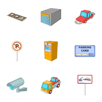 Parking icons set, cartoon style