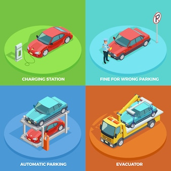 Parking isometric collection