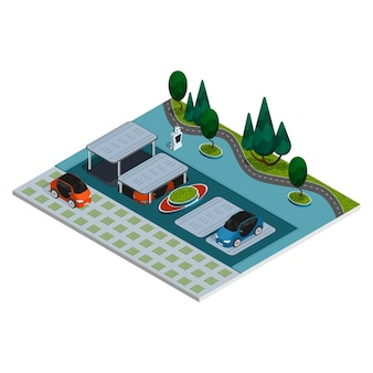 Parking isometric composition robotic smart parking with robots and underground parking spaces
