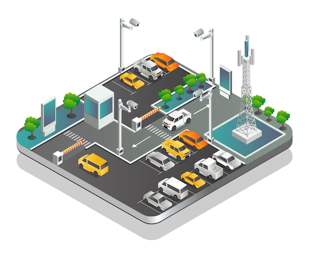 통신탑이 있는 주차장 및 cctv