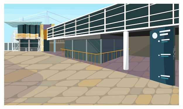 Parking lot for block house illustration