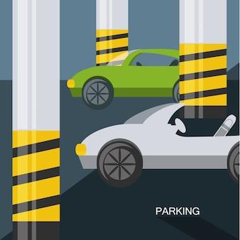 Parking lot design of basement parking colorful design