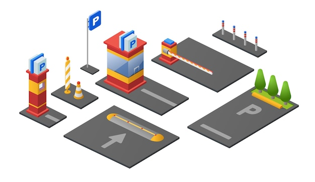 Parking lot icons of checkpoint ticket booth or parkomat barrier Premium Vector