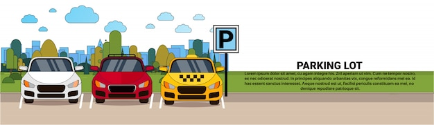 Parking lot view with different cars and taxi over silhouette city background horizontal banner