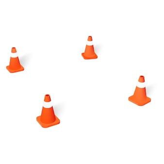 Parking lot with orange traffic cones
