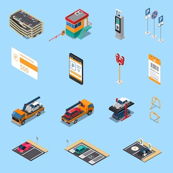 Parking lots facilities isometric icons set with multilevel garage pass ticket and tow truck isolated