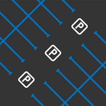 黒の背景図に駐車場のマークアップ