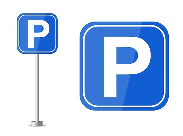 車の駐車場。文字pの図と青い道路標識
