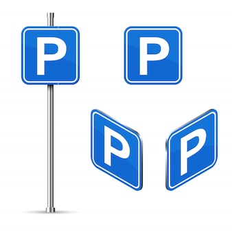 Parking place road sign set