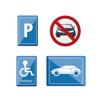 Parking road signs icon set