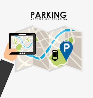 Parking service, tablet and paper map