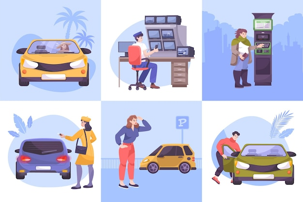 Parking  set  of  square  compositions  with  flat  human  characters  of  drivers  parking  lot  guard  and  cars    illustration