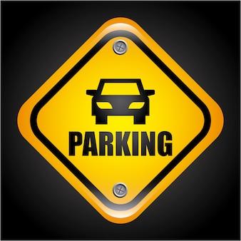 Parking signal over black  background vector illustration