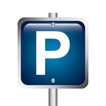 Parking signal over white background vector illustration