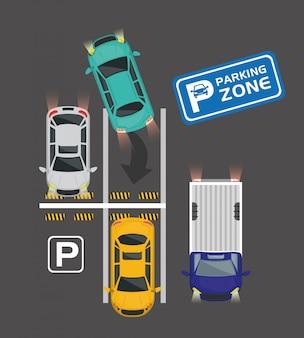 駐車場の航空写真