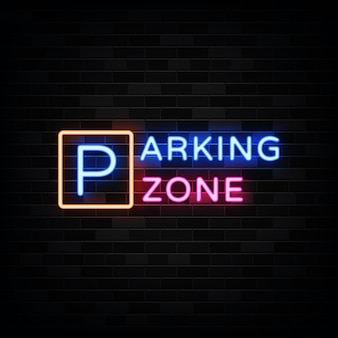 Parking zone neon sign illustration