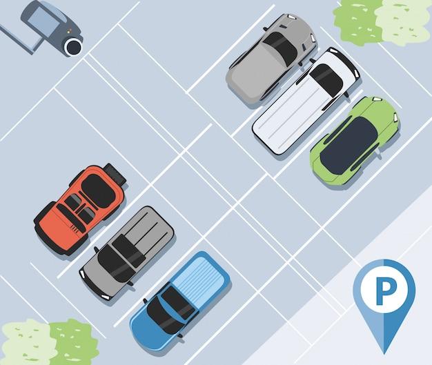 Parking zone urban scene illustration