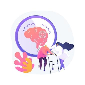 Illustrazione di vettore di concetto astratto di malattia di parkinson. causa e trattamento del morbo di parkinson, problema della depressione dell'età, sintomi della malattia, disturbo del sistema nervoso progressivo, metafora astratta del tremore.