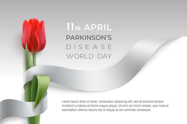 灰色の写実的なリボンと赤いチューリップでパーキンソン病の世界の日