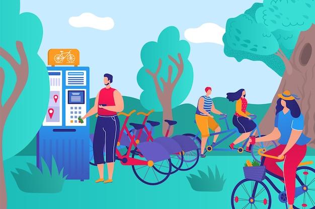 パークランド自転車レンタル健康的なライフスタイルの人々が一緒にスポーツ活動フラットベクトルillusをキャラクター...