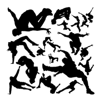 Parkour activity silhouettes
