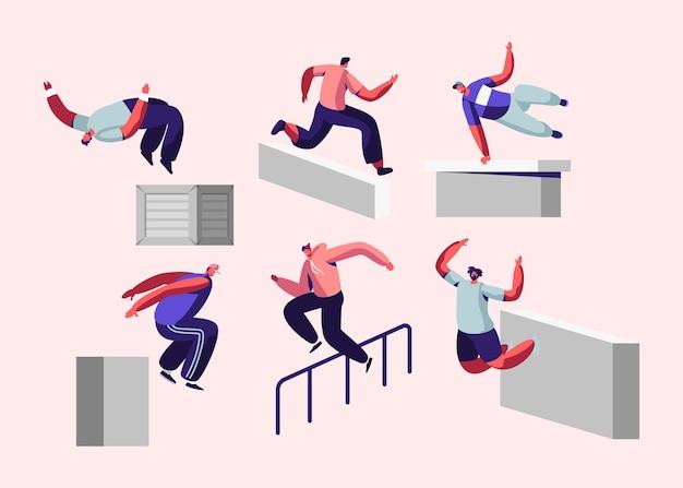 Паркур в городе. молодые люди перепрыгивают через стены и барьеры, городской спорт, активный образ жизни, спортивная деятельность.