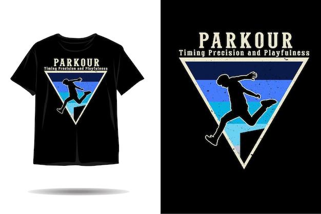 パルクールの男のシルエットtシャツのデザイン