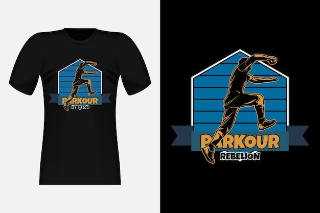 파쿠르 반란 실루엣 빈티지 티셔츠 디자인