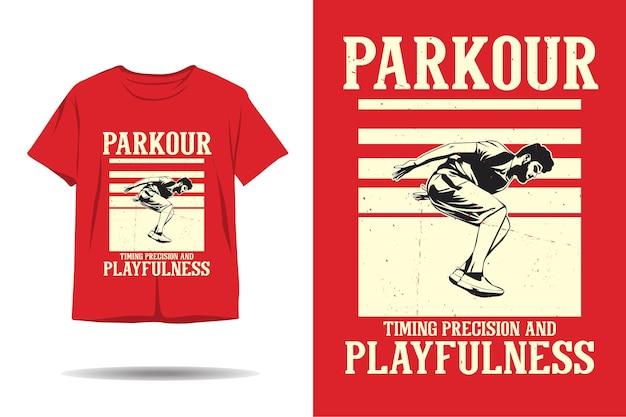 Parkourのタイミング精度と遊び心のあるtシャツのデザイン