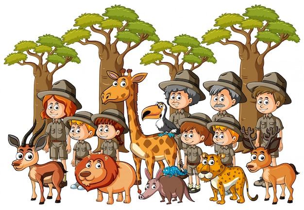 Parkrangers и дети с животными в лесу