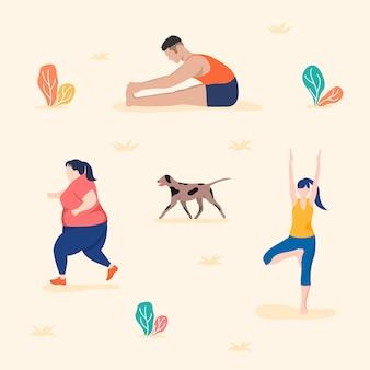 公園や野外活動、ヨガの練習、ランニング、ストレッチ。