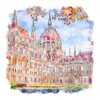 의회 부다페스트 헝가리 수채화 스케치 손으로 그린 그림
