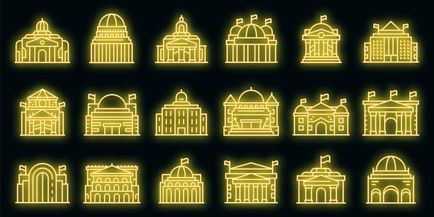 Набор иконок парламента. наброски набор векторных иконок парламента неонового цвета на черном