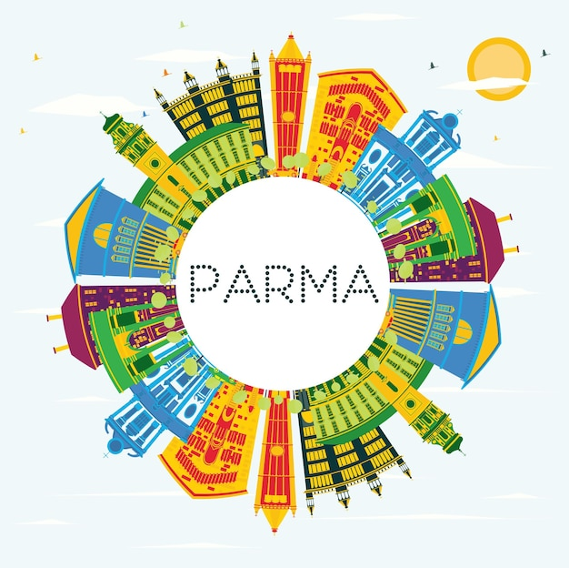 Parma italy city skyline with color buildings, blue sky and copy space. vector illustration. business travel and tourism concept with historic buildings. parma cityscape with landmarks.