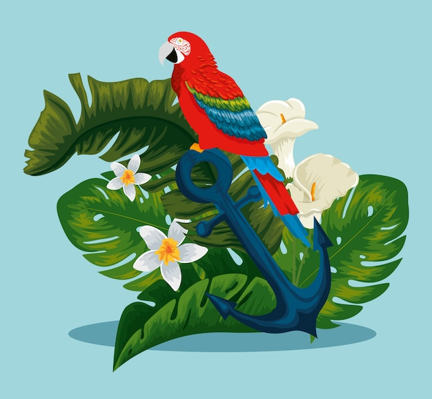Parrot in the anchor with exotic flowers and leaves