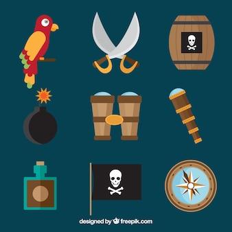 Попугай и пиратские элементы в плоском дизайне