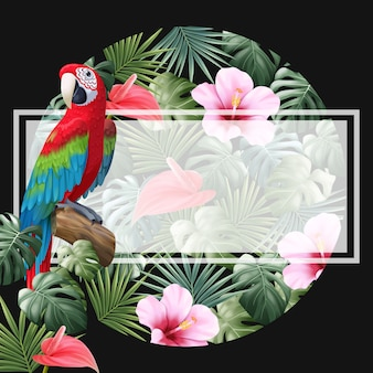Parrot, anthurium, hibiscus and tropical leaves circle