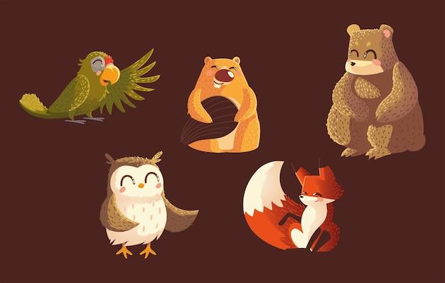 Parrot bear beaver owl and fox wildlife cartoon animals brown background vector illustration