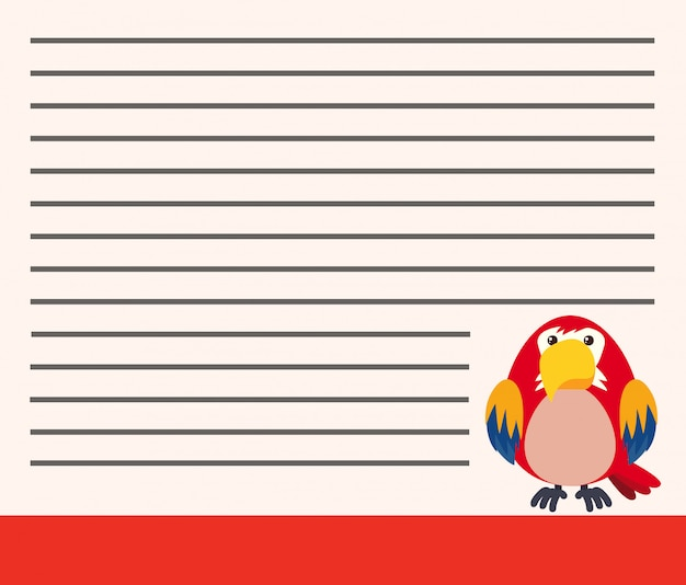Parrot on blank note copyspace