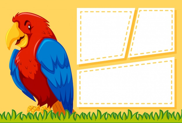 A parrot on blank note