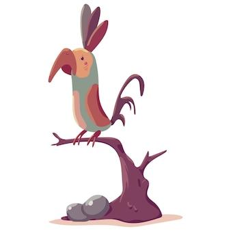 Parrot on a branch cartoon illustration