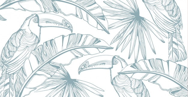 Parrot card line art. exotic palm leaves decors. summer party s