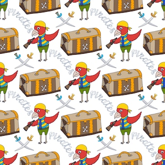 Parrot doodle seamless pattern background with pirate chest. childish print