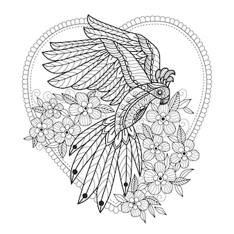 Parrot and flowers coloring pages for adults