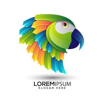 Попугай градиент красочный шаблон логотипа