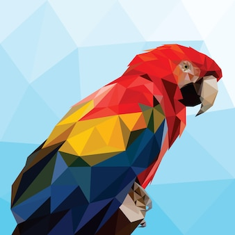 Parrot head bird low polygonal vector template